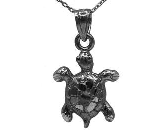 14k Black Gold Turtle Necklace