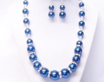 Blue Graduated Glass Pearl w/Rondelle Rhinestone Princess Necklace/Bracelet/Earrings Set