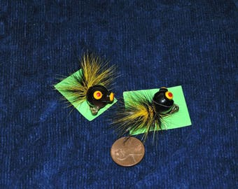 Whimsical Yellow & Black Feather Fish Lure Scatter Pins, 1950's