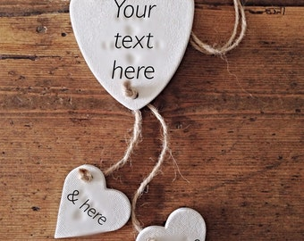 Custom clay garland with personalised little hearts ~ nursery decoration ~ nursery decor ~ new baby gift or Mother's Day gift ~ family
