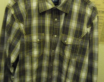 Mens Resistol University Shirt Pearl Snaps L/S  LG  Tan and Yellow stiching