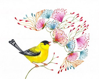 Singing Goldfinch songbird art print, little bird by OlaLiola, size 7x5 (No. 45s)