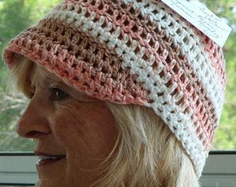 Women's Chemo hat, all cotton handcrafted crochet hat, unique summer newsboy, soft and comfortable hat, free shipping USA