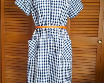 Vintage Sue Sherry Navy Gingham Zip-Front Day Dress - Size XL (Belt Not Included)