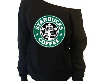 Womens Starbucks Slouchy Off-Shoulder Sweatshirt | Starbuck Gift for Her | Gift For Wife | Girlfriend Gift | Gift For Sister[#562S]