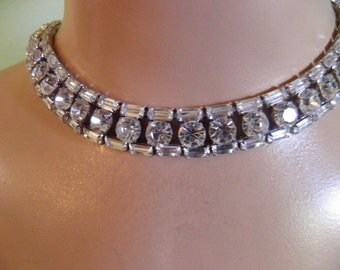 Old Hollywood Glamour Juliana Necklace, Diamond Look Rhinestones
