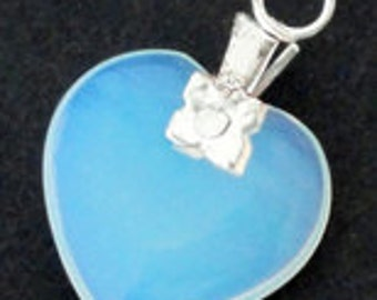 2pc - 23mm Smooth Grade AAA Opalite Opal HEART Pendant Charm Drop With Bail