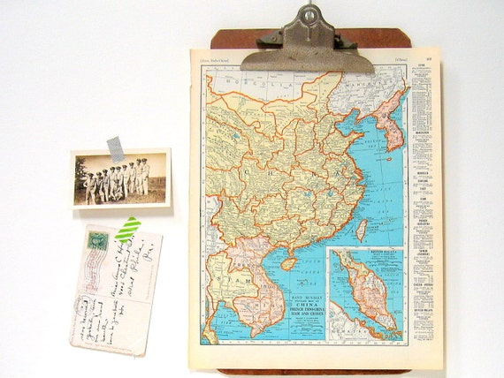 China map japan map 1936 vintage map from world atlas 11 x gumiabroncs Choice Image