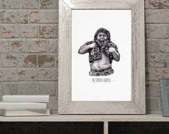 The Goonies Movie poster print  - Chunk doing the Truffle Shuffle. Fun, quirky wall art.