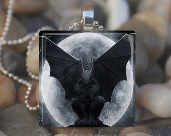 GARGOYLE MOON STATUE Gothic Goth Halloween Bat Glass Tile Pendant Necklace Keyring design 3