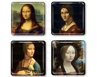 Leonardo da Vinci, Glass Magnet, Refrigerator Magnets, Fridge, Mona Lisa, La belle ferronnière, Lady with an Ermine, Ginevra De'Benci