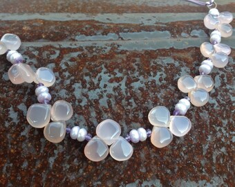 Lavender Chalcedony and Amethyst  necklace     Lavender in Bloom    Leather Necklace  \\ Boho \\