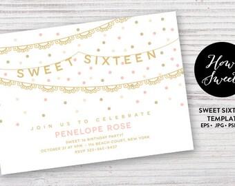 Sweet Sixteen Party Invitation // DIY Teen Party Invites // Sweet 16 Party Templates //  Printatble Birthday Invites