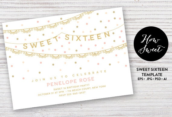 Sweet Sixteen Party Einladung / / DIY Teen Party lädt / /