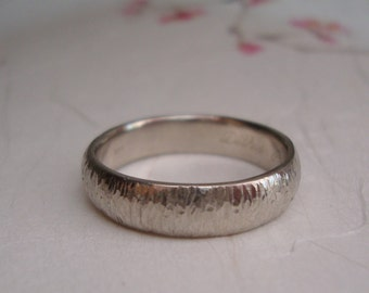 White Gold Bamboo Wedding band- 14k solid gold band ring with bamboo inspired texture