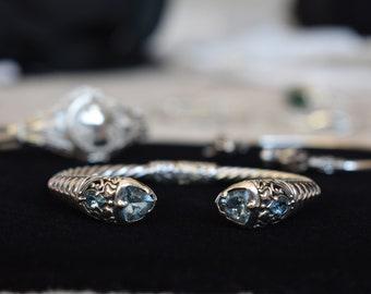 Trillion Cut Blue Topaz Sterling Silver Bracelet
