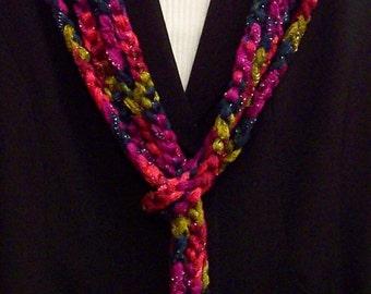 Decorative Long Fabric Chain Scarf in Mambo Multicolor