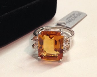 Beautiful 5ct Emerald Cut Citrine Ring White Sapphire Accents Sterling Silver Ring 5 6 7 8 9 Trending Jewelry Gift November Wife Mom Madeira