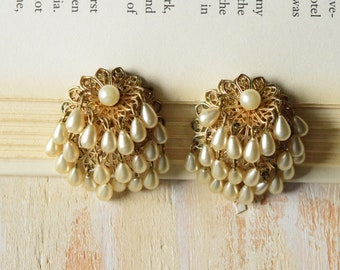 1950's Brass Filigree and Tear Drop Pearl Earrings