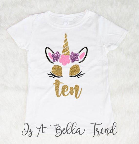 Ten Unicorn Birthday Shirt Birthday Girl Shirt Birthday