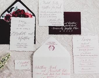 Romantic Hand Torn Custom Calligraphy Invitation Suite