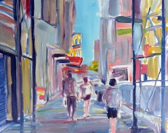 """Original 24"""" x 24"""" Impressionistic Oil Painting on stretched canvas New York City Street Scene"""