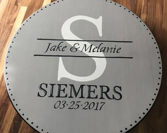 Lazy Susan/Hand Painted Lazy Susan/Wedding Gift/Personalized Monogram/Custom Wedding Gift/Anniversary