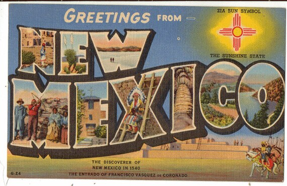Beautiful Linen postcard, Greetings from New Mexico, The Sunshine State  BA98