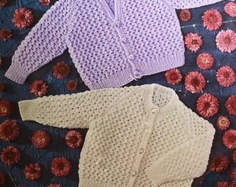 Vintage baby cardigan knitting pattern lacy cardigan v neck round neck pdf INSTANT download pattern only pdf