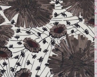 White/Taupe Floral Print Sheeting, Fabric By The Yard