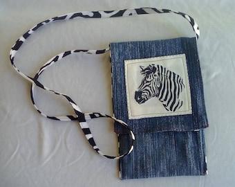 Small Reversible Recycled Denim Crossover Zebra Messenger Bag.
