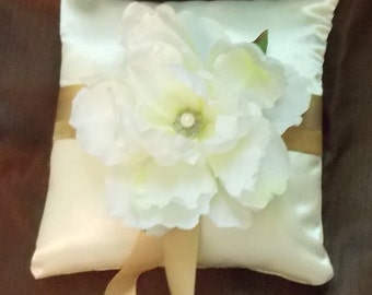 white flower satin ring bearer pillow