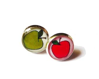 RED APPLE EARRINGS - Stud Earrings - Apple Jewelry - Fruit Earrings - Teacher Earrings - Favorite Teacher - Best Teacher - Gift Idea