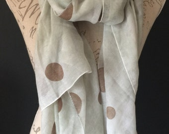 Large Spot ..  Brown /pale Green wash oversize Scarf / Wrap