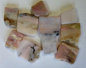 10 Peruvian Opal Stone Earthy Square Flat Rectangle Beads 20mm Britz Beads Supply