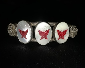 1970 Native American inlay, Bracelet w/ red butterflies made of shell.
