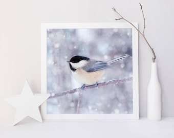 Winter Wall Art, Holiday Decor, Winter Animal Photography, Bird Wall Art, Nature Photography, Winter Photography, Chickadee in Snow No. 12