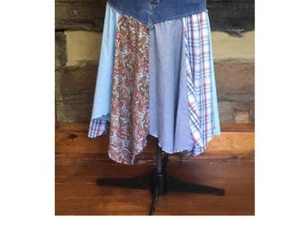 Womens Denim Skirt Hippie Boho Hippie Patchwork Feastival Clothing  Upcycled Chic  Clothes Plus Size Skirt SALE