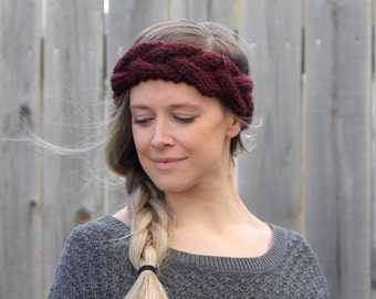 Braided Woman's Headband in Claret Red- Ear Warmer- Other colors available