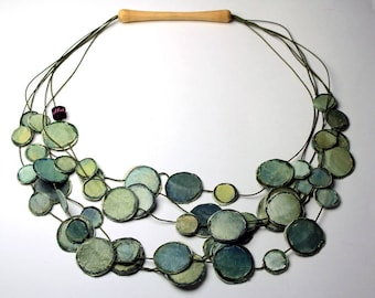 Portable painting Necklace Green Wood, boho statement multilayer