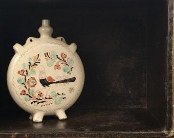 Vintage Hungarian Pottery Ceramic Urn Vessel Bottle Jug Canteen Folk Art Craft