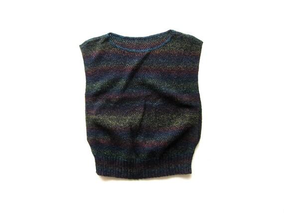 80s Rainbow Knit Sweater Top Vintage Thin Cotton Tank Top Sleeveless Sweater Top Minimal Retro Top Preppy 70s Sweater Vest Womens Small