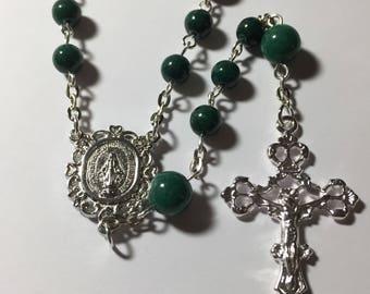 Handmade Dark Green Jade Catholic Rosary Beads