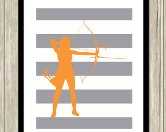 Archery wall art, girls wall art, inspirational sports art, kids art, archery, custom colors, sports, and patterns