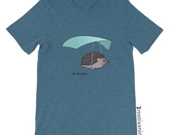 "Cute Hedgehog ""Be Fearless"" Vintage T-shirt | unique animal art tshirts, cute wildlife t-shirts, flying animals, animal lovers shirt"