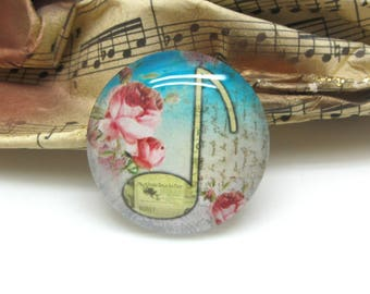2 cabochons glass music Note Vintage yellow 12 mm - 12 mm