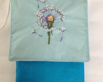 Dandelion Embroidered Sling Bag, Recycled Paraglider Messenger Style Purse, IPhone 6 Purse, Blue Sling Bag, Eco Sling, Crossbody Bag