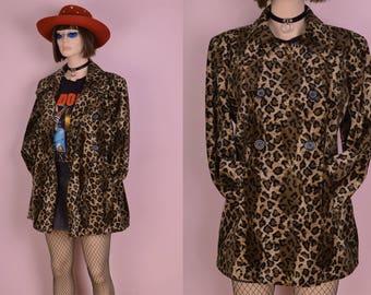 90s Fuzzy Leopard Print Coat/ Medium/ 1990s/ Jacket