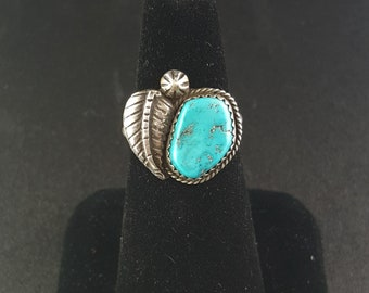 Navajo Leaf Kingman turquoise sterling silver ring - size 7 1/2