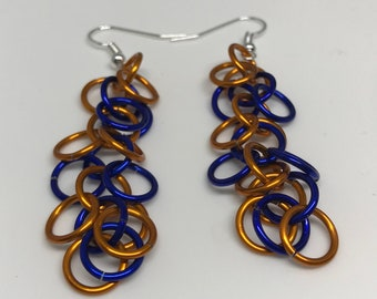 Sale 25% off Orange and Blue Shaggy Loops Chainmaille Dangle Earrings